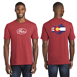 RED HEATHER T-SHIRT WITH COLORADO FLAG