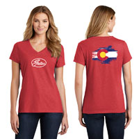 RED HEATHER T-SHIRT WITH COLORADO FLAG - LADIES